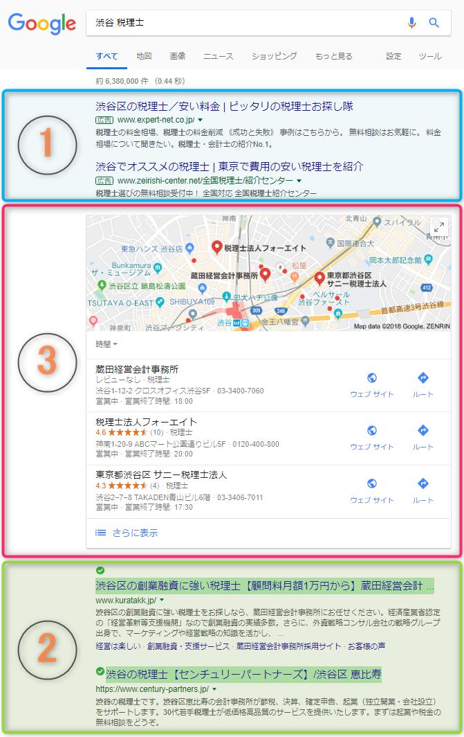 Googleで「渋谷 税理士」を検索したときの検索結果。Googleマイビジネスに登録しておくと、こんなに優遇されちゃう!