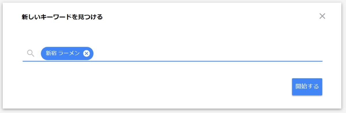 Google広告 キーワードプランナーで新宿ラーメンに関連するキーワードを調べてみる